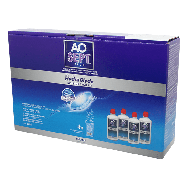 AOSEPT PLUS with HydraGlyde 4x360ml Contact Lens Cleaner product image